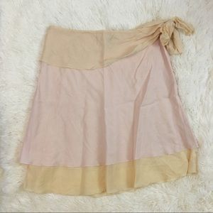 Odille Anthropologie Pale Pink Tiered Cotton Skirt
